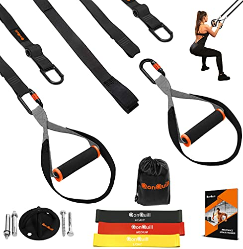QonQuill Bodyweight Resistance Training Kit for Full Body Workouts - Fitness Straps Workout Equipment (Premium Black)