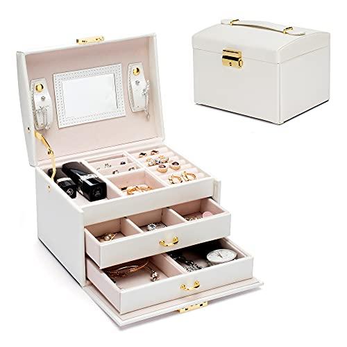 Coomazy Caja Joyero con espejo y 2 cajones, organizador de joyas con cerradura de Viaje, Grande Caja de joyería para anillos, Collares pendientes (blanco, 17X12X12.5cm)