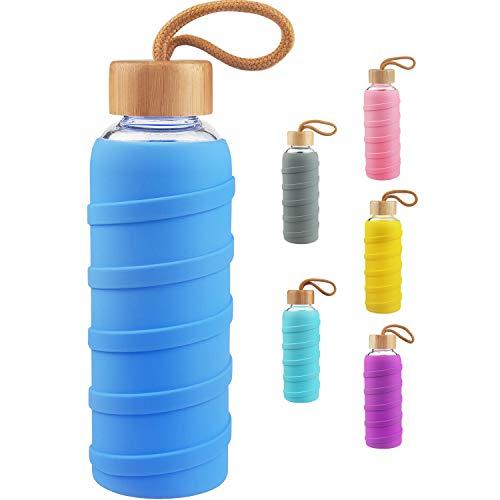 SHBRIFA Botella de Agua de Vidrio de Borosilicato Deportivo 480ml / 1000ml / 1 Litre, Botella de Agua de Cristal con Funda de Silicona y Tapa de Bambu a Prueba de Fugas(480ml Armada)