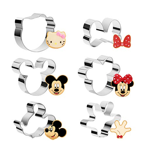 Aitsite 6 Stück Maus Ausstechformen, Mouse Ausstecher, Ausstechform aus Edelstahl, DIY Fondant Plätzchenausstecher, Maus Ausstecher Set für Kinder