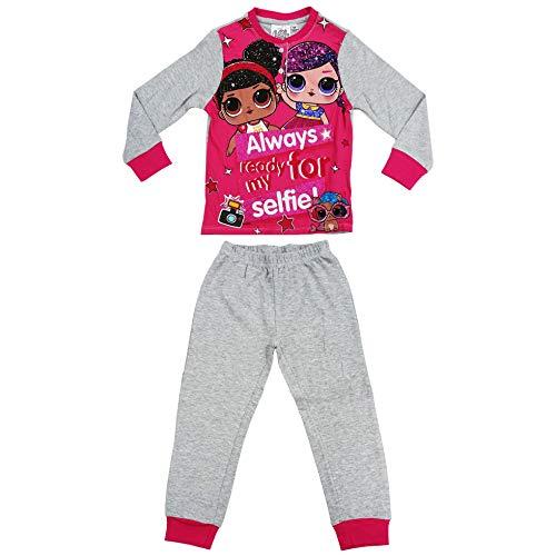 Preisvergleich Produktbild Lol Surprise HS7162 Schlafanzug,  langärmlig,  warme Baumwolle,  Interlock,  mehrfarbig,  Mädchen.,  Grau 8 Jahre