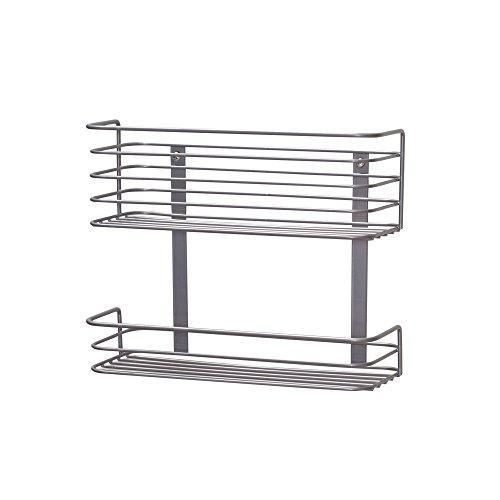 Household Essentials 1228-1 Double Basket Door Mount Cabinet Organizer | Mounts to Solid Cabinet Doors or Wall
