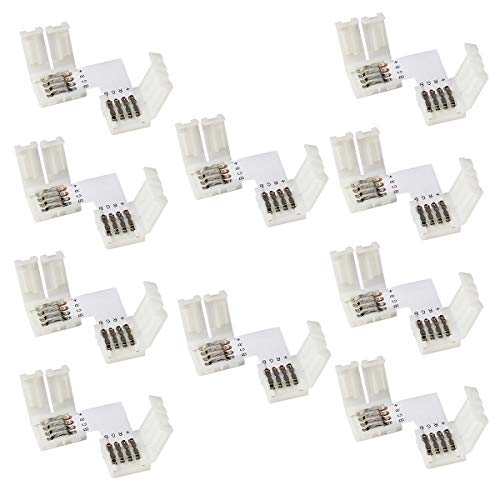 LED Connector RGB Supernight 10pcs 4 pin Connectors L-Shape PCB 10mm Wide RGB SMD 3528/5050 Led Light Strip for Right Degree Corner or 90 Angle Turning Connection