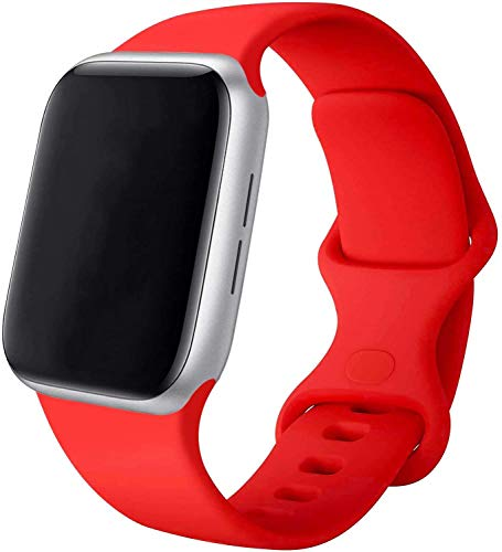 VIKATech Compatible Cinturino per Apple Watch Cinturino 44mm 42mm 40mm 38mm, Cinturino Morbido di Ricambio in Silicone per iWatch Series 6/5/4/3/2/1 (38mm/40mm S/M, Red)