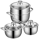 ASDFGG Set Wok Acero Inoxidable de Utensilios de Cocina, 3-Capa de Base, de 3 Piezas Antiadherente ollas y sartenes Set - Leche Pot, Olla W/Tapa Ideal para cocinar (Color : Silver, Size : Free Size)