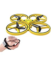 Sausiry Mini RC Drone, Watch Controller Gesture Hold Quadcopter UAV Performance Gesture Sensing Stable Gimbal G-Sensing Outdoor Toy for Kids (Yellow)