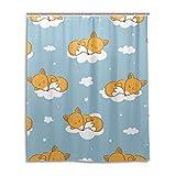 Lafle Wasserdichter Duschvorhang, Füchse, Wolken, Heimdekoration, Badezimmer-Vorhang mit 12 Haken, 152 x 182 cm