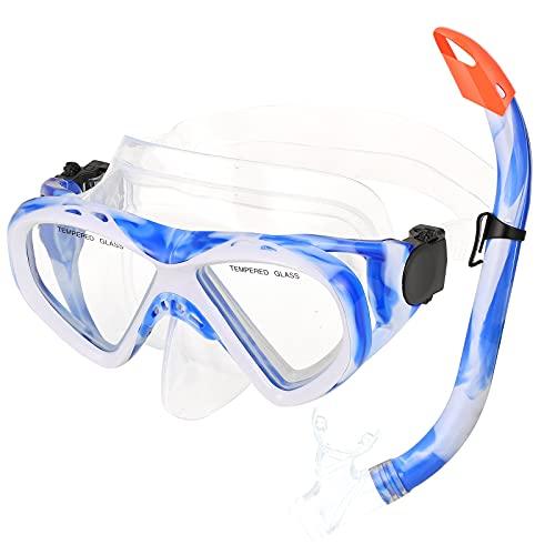 Snorkel Set Kids, URMI Children Snorkel Mask Semi-Dry Snorkeling Set Anti-Fog, Child Scuba Diving Mask Panoramic Snorkel Equipment Snorkeling Packages Swimming Gear for Youth Boys Girls (Blue)