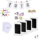 Baby Footprint Handprint 4 Kits Premium Safe Inkless Newborn no Contact with Ink Pad and Imprint Cards Print with Clip, Hemp Rope for Babies Pets Photo Picture Frames(0-12 Month)