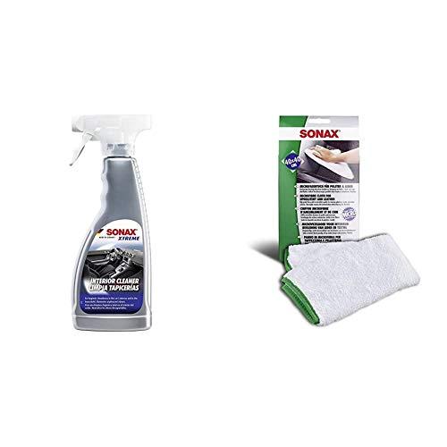 SONAX XTREME AutoInnenReiniger (500 ml) speziell für hygienische Sauberkeit & Microfasertuch für Polster, Textil und Leder zur fusselfreien Fahrzeuginnenreinigung (40x40 cm), bei 60°C waschbar