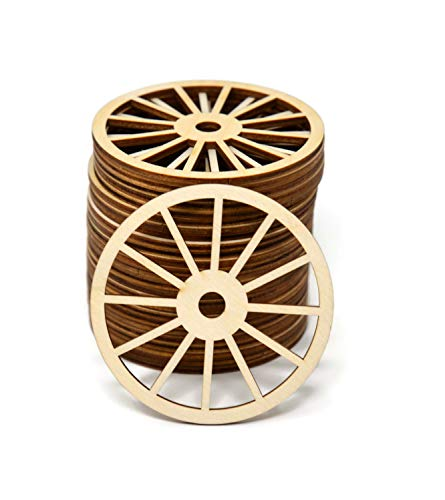 Gocutouts Wooden Wagon Wheel Cutouts Unfinished Wooden Wagon Wheel Shaped Crafts D0530 (3' Package of 25)