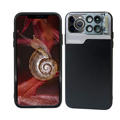 iPhone 11 Pro Max Lens, 5 in 1 Camera Phone Lens Kit [ 180 Degree Fisheye, 0.65X Super Wide Angle, 20X Macro Lens, 2X Zoom Telescope, CPL Filter Lens ] with Phone Case for iPhone 11 Pro Max (Black)