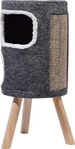 dobar 43104e Großer Doppel-Katzenhocker mit 2 Katzenhöhlen und Filzbezug und Sisal-Kratzfläche, 40 x 40 x 77 cm, L, grau