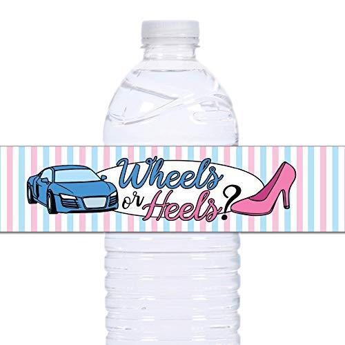21 Wheels or Heels Waterproof Self-Adhesive Water Bottle Labels