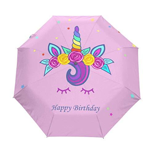 Suzanne Betty Paraguas con cierre automático, diseño de unicornio, tiara arcoíris, flores cortavientos, compacto, plegable