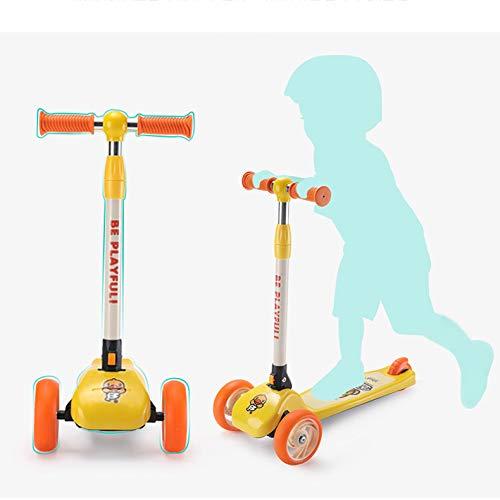 LITIAN Kinder Scooter Faltbare Baby-Geeignet für 36 Monate 3-6 Jahre alt Baby-Spielzeug-Auto Yellow