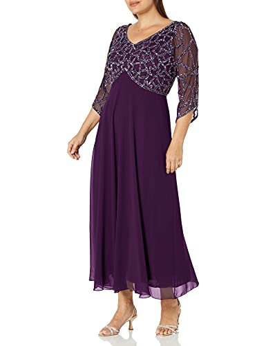 J Kara Women's Plus Size 3/4 Sleeve Geo Beaded Gown, Plum/Mercury/Silver, 18W