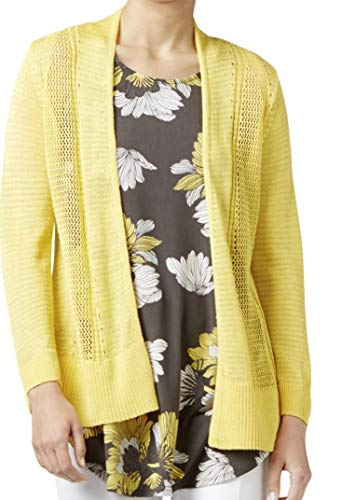 Alfani Womens Sheer Open Front Cardigan Sweater Yellow M