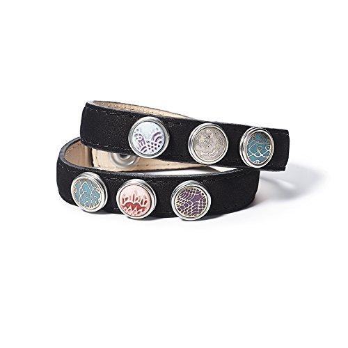 Noosa Petite doppeltes Leder Armband in Schwarz - Double Skinny - Gr. XS