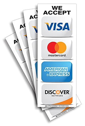 """Credit Card Sticker Signs Stickers for Windows – 4 Pack 3""""x 8"""" Inch - We Accept Visa, MasterCard, Amex & Discover, Premium Front Adhesive Vinyl to Apply Inside The Window or Glass Door for Stores Business"""