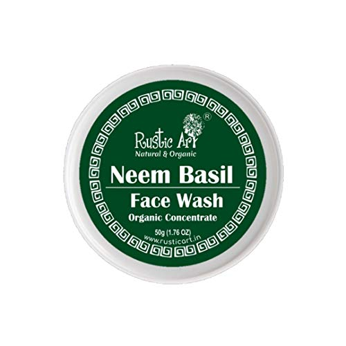 Rustic Art Organic Neem Basil Face Wash Concentrate for Mild Exfoliation | Anti Acne, Pimples, For Oily, Acne Prone Skin| 50gm