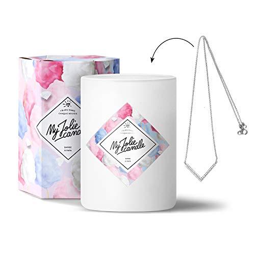 MY JOLIE CANDLE - Bougie parfumée avec Bijou Suprise à l'intérieur - Bijou : Collier en Argent - Parfum : Barbe à Papa - Cire Naturelle végétale - 330g - 70h Combustion