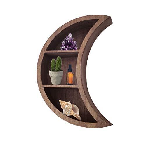 Kirpi Crescent Moon Shelf for Crystals Rustic Wall Decor Wooden Floating Shelf Wall Art Floating Shelves for Bathroom Boho Bedroom Decor Hanging Shelves Size 17''x 12''x 3,25'' with 3 Shelves Brown
