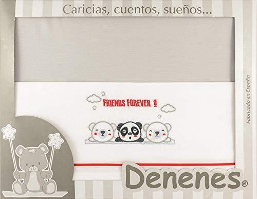 Danielstore-Sabanas Cuna 60x120 algodon 100% - (bajera+encimera+funda almohada) (Panda rojo)