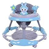 Andador de bebé con almohadilla desmontable para los pies bandeja de música altura ajustable plegable bebé caminador de bebé con juguete de conejo