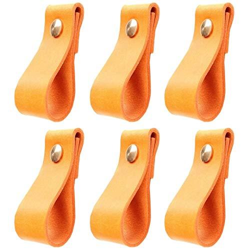 Creatwls 6 Stück Schrank Türgriff Weiche Ledertürgriffe für Schrank Schublade, Nordic Garderobe Schubladengriff Leder Türknauf – Möbel-Hardware Ledergriff