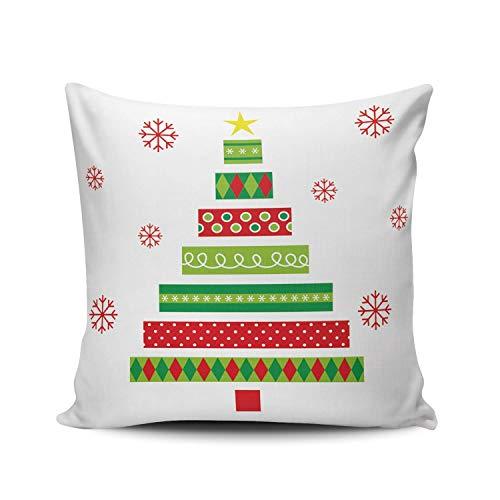 GOSMAO Funda de Almohada mas árbol y Copo de Nieve Rojo Algodón Lino Throw Pillow Case Funda de Almohada para Cojín 45x45 cm