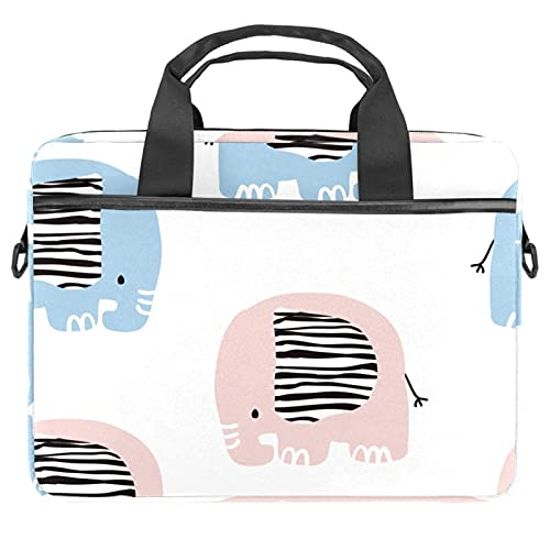 Sacoche de transport pour ordinateur portable de 13,4 à 14,5 pouces - Design élégant - Motif cactus en pot - - Motif éléphant rose et bleu.,