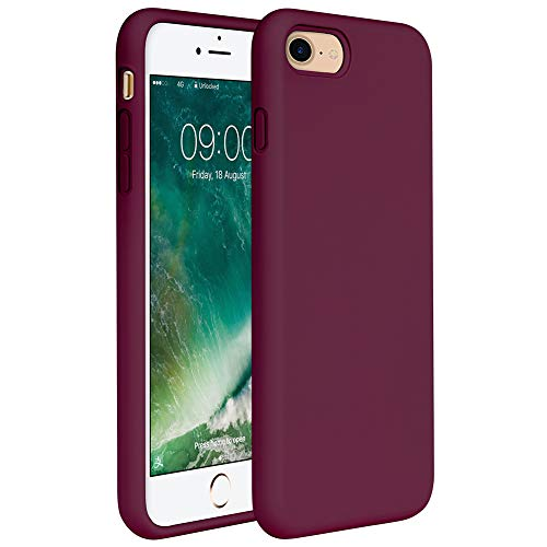 Miracase iPhone SE 2020 Case,iPhone 8 case,iPhone 7 Silicone Case Gel Rubber Full Body Protection Cover Case Drop Protection for Apple iPhone SE 2020/ iPhone 8/ iPhone 7(4.7')(Wine Red)