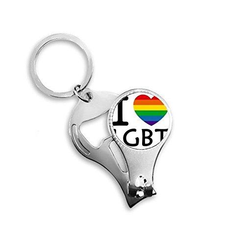 Arco iris Gay lésbico LGBT transgénero bisexuals apoyo I Love LGBT bandera ilustración Metal clave cadena anillo multifunción Nail Clippers abrebotellas llavero de coche mejor encanto regalo