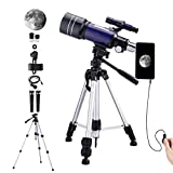 150X Telescope for Kids Astronomy Beginners Adults, 70mm HD Refractor Telescope for Astronomy