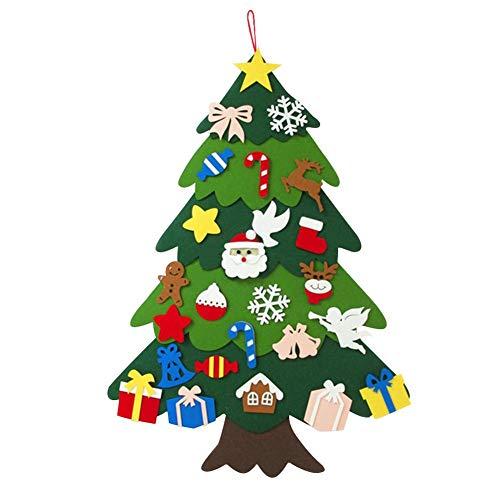 yummyfood Árbol de Navidad de Fieltro, Juego de Bricolaje para niños con 25 Piezas de decoración de Adornos, Decoraciones de árbol de Navidad para Colgar en la Pared