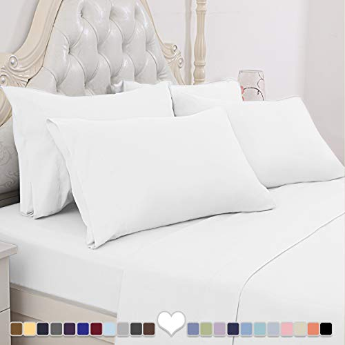 BYSURE Hotel Luxury Bed Sheets Set 6 Piece(Queen, White) - Super Soft 1800 Thread Count 100% Microfiber Sheets with Deep Pockets, Wrinkle & Fade Resistant
