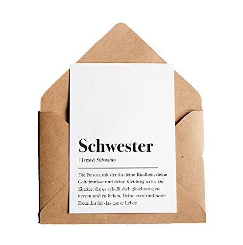 Definition Schwester: Grußkarte mit Umschlag