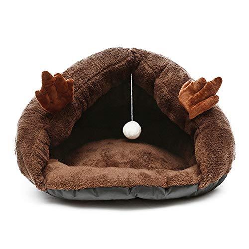 XYBB Huisdier Bed Mooie Zachte Fleece Kat Grot Bed Gezellige Nest Huisdier Slippers Vorm Slaap Kussen Kleine Hond, 40x35x25cm, Koffie