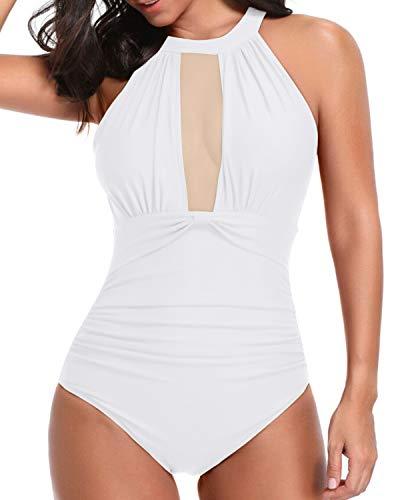 Tempt Me Women One Piece Swimsuits White Plunge V-Neck Mesh Ruch Swimwear 1X