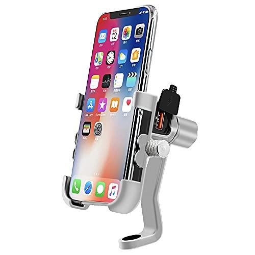 GOURIXIN Soporte para teléfono para Motocicleta, instalación de Espejo retrovisor Ajustable, Soporte Impermeable para teléfono para Motocicleta, con USB para Dispositivos de 4-6 ''