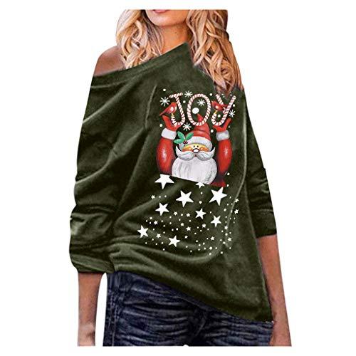 JJsmile 2019 NoëL Cadeaux Shirt Sweat Femme Automne Printemps Hiver Christmas Dessus De Manche Longue ÉPaule Hauts Chemisier Top Blouse T-Shirt Sweat-Shirt Tee