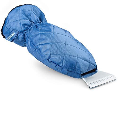 PREMYO Rascador de Hielo con Guante para Coche Rasqueta Parabrisa Auto Forro Polar Caliente Cinta Elástica Repelente al Frío contra Helada Nieve