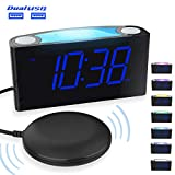 Loud Alarm Clock with Bed Shaker for Heavy Sleepers, Vibrating Alarm Clock for Bedroom, Deaf and Hearing-Impaired, 2 USB Charger, 7 Colored Night Light, 7' Large Display, Full Dimmer & Battery Backup