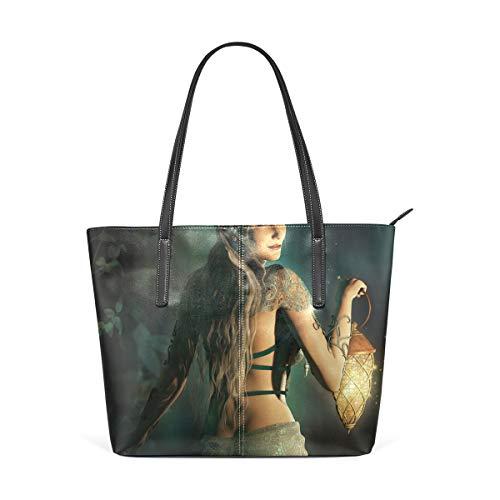 NR Multicolour Fashion Damen Handtaschen Schulterbeutel Umhängetaschen Damentaschen,Fee Elf Prinzessin Laterne drucken