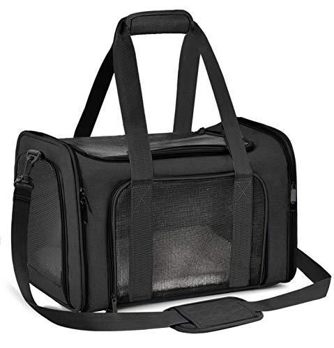 Qlf yuu Transporttasche für Katze Hund, Faltbare Tragebox für Mittel Kleine Haustiere im Flugzeug, Transportbox für Haustiere Mittel Kleine Hund Katze, 15lbs Katzen Hunde Tragebox(Schwarz, Medium)