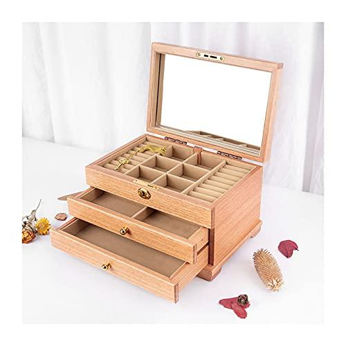 Joyería Caja de Almacenamiento 3 capas Organizador de caja de joyería para mujer Reloj de almacenamiento Organizador de joyería de almacenamiento Mostrar caja Regalo para pendientes, anillos, collares