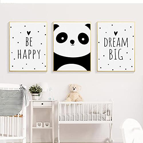 Be Happy Wall Art Canvas Pintura Dream Big Posters E Impresiones Poster NóRdicos Panda Cuadros De Pared HabitacióN De Los NiñOs Decoracion De La HabitacióN del Bebé 40x60cmx3 Sin Marco