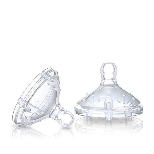 Nuby NT67601 - Natural Touch Soft Flex Flaschensauger aus Silikon, Grösse M für mittleren Trinkfluss, Muttermilch, Milch, Tee, Säfte, 2er Pack