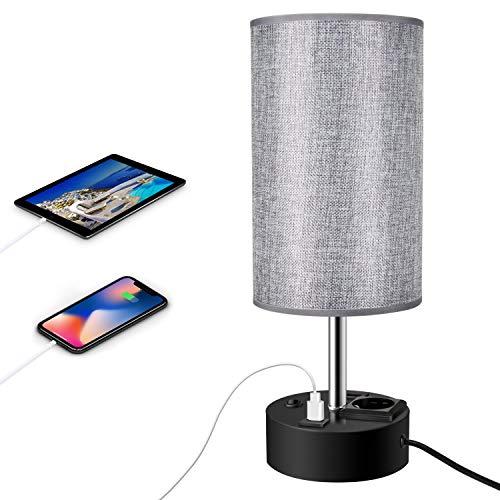 ENCOFT Tischlampe Nachttischlampen Schreibtischleuchte mit 2 USB mit e27 Fassung Lampenschirm für Schlafzimmer Wohnzimmer Hotel Café [Energieklasse A+](Style 3, 1)
